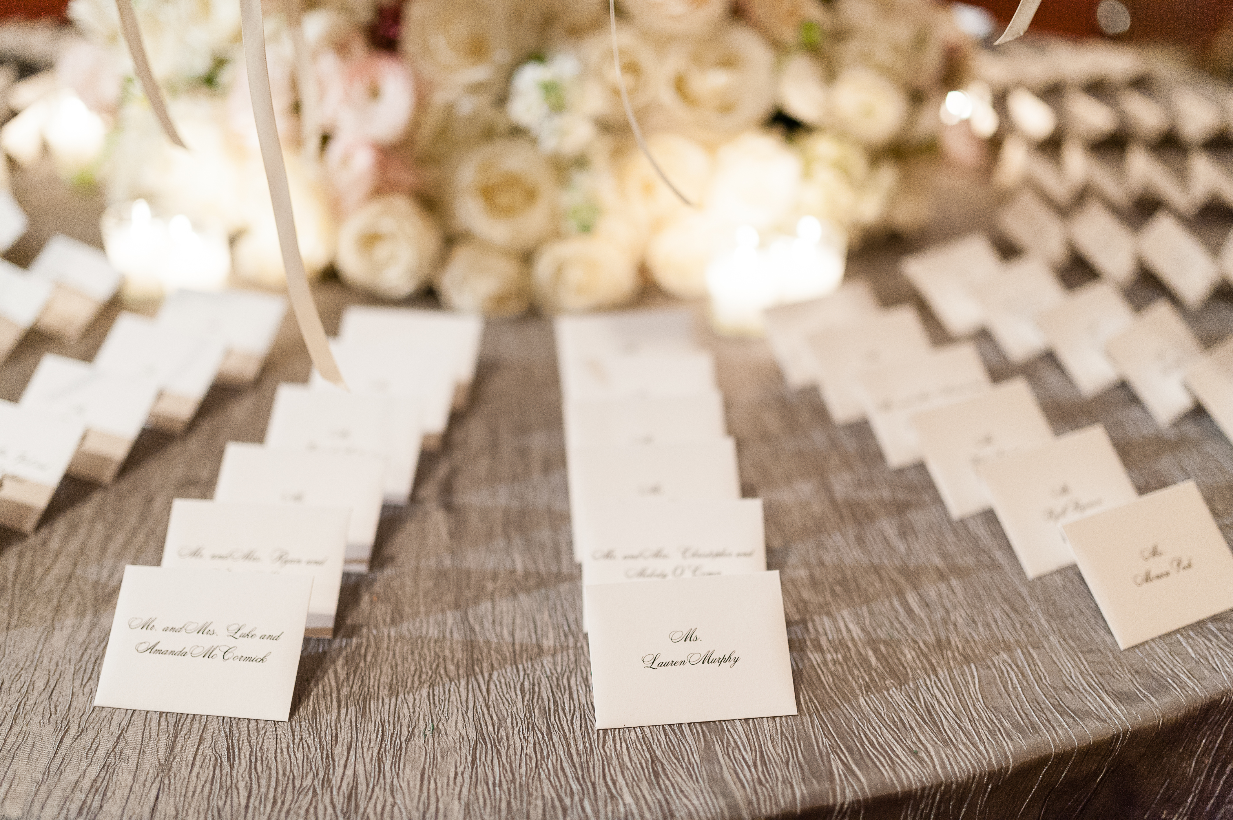 Escort card design and table cloth