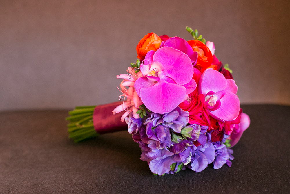 Hot pink wedding bouquet design